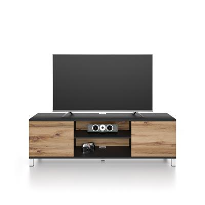 Rachele TV Stand, Black Ash - Rustic Wood