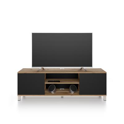 Rachele TV Stand, Rustic Wood - Black Ash