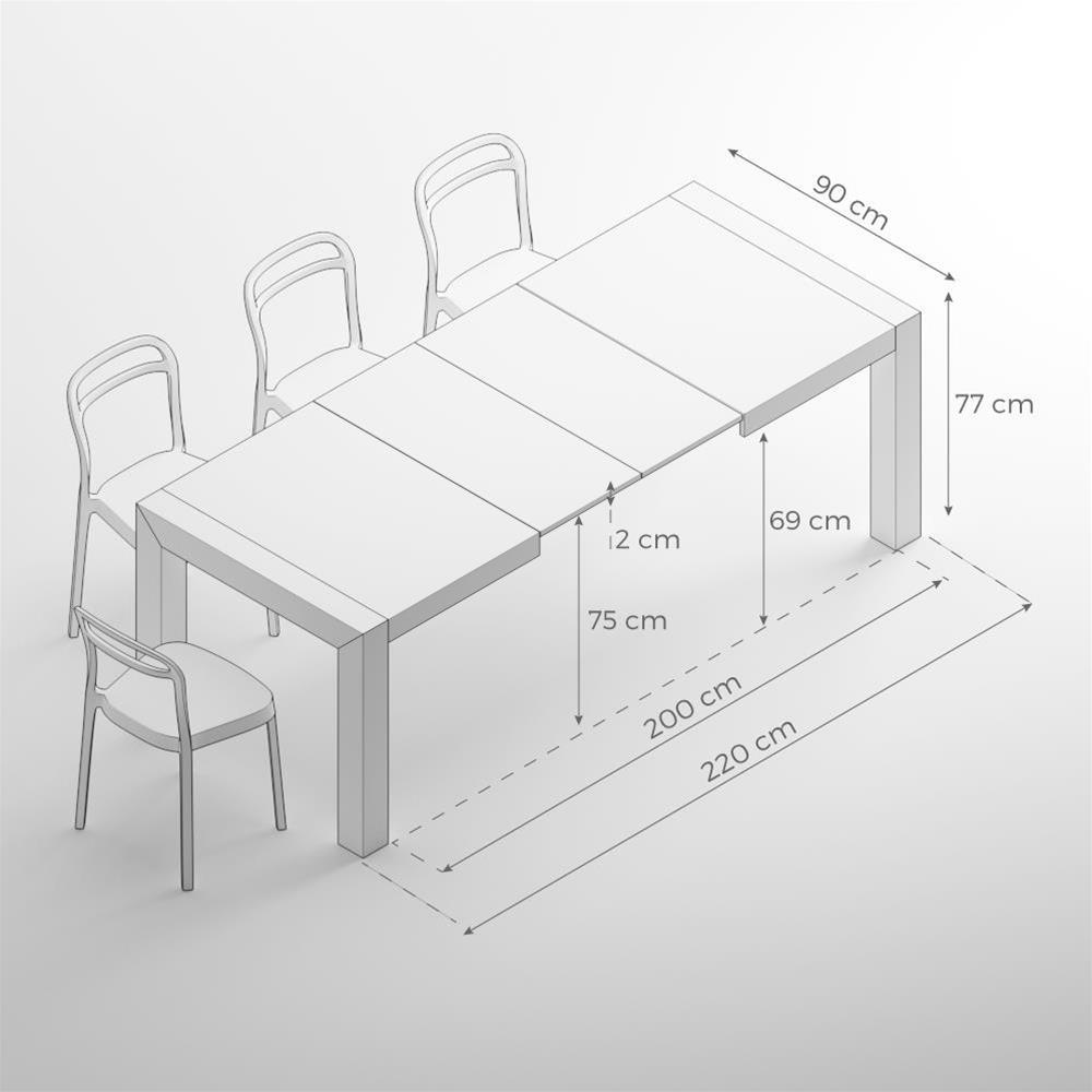 Dimensioni Tavolo Sala Da Pranzo tavolo allungabile moderno, iacopo, bianco frassino