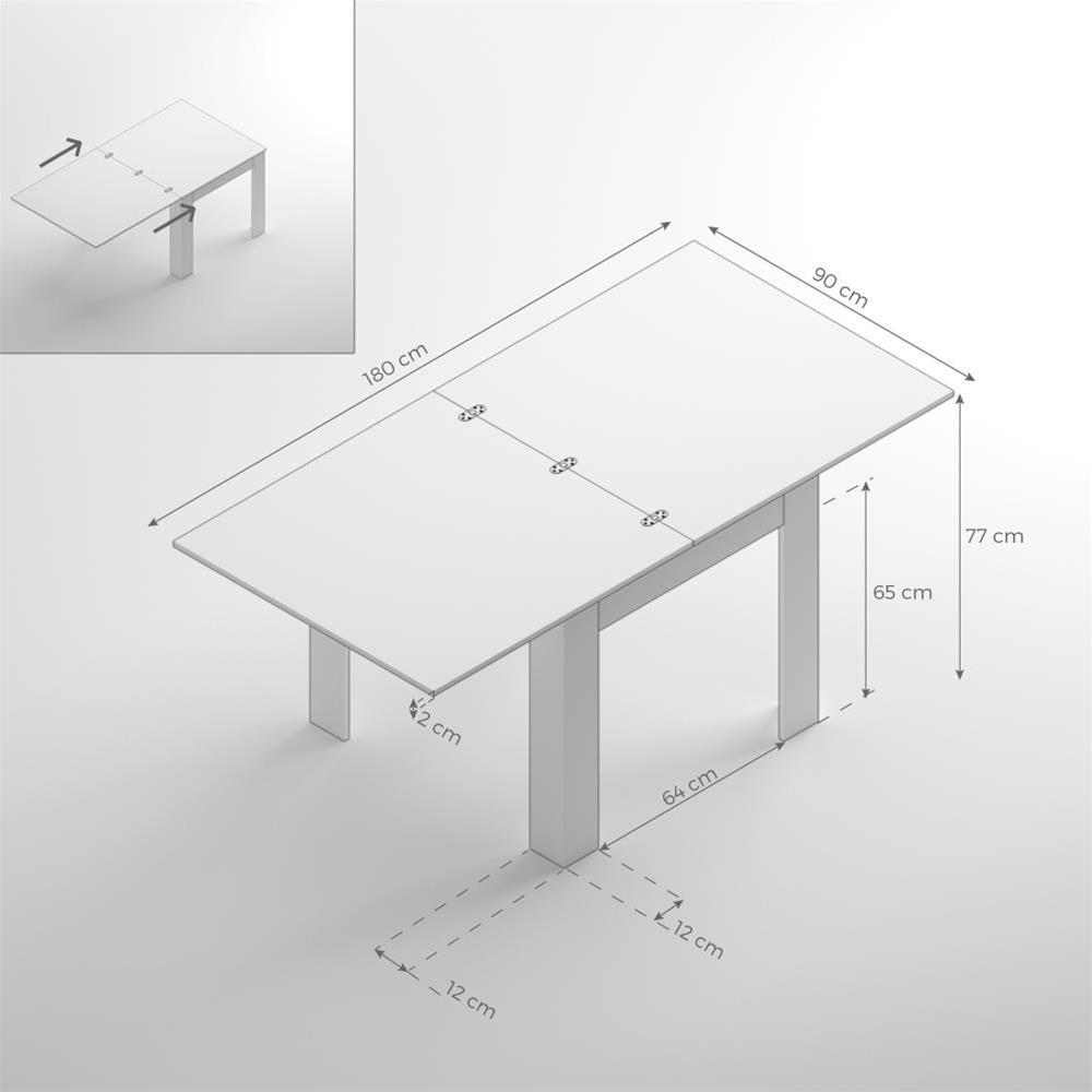 Tavolo Quadrato Allungabile Bianco.Tavolo Allungabile A Libro Eldorado Bianco Lucido Mobili Fiver