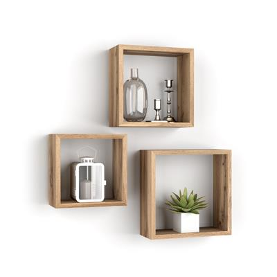 Set of 3 square wall cubes, Giuditta, Rustic Wood