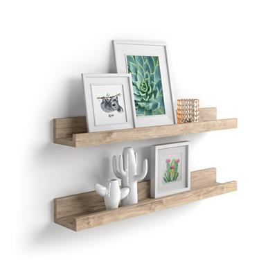 Pair of picture-holder shelves First, 80 cm, Oak