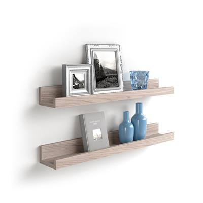 Pair of picture-holder shelves First, 80 cm, Pearled Elm