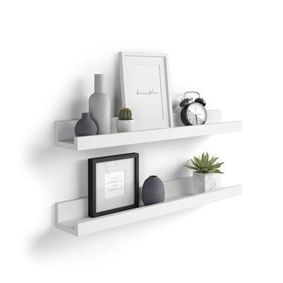 Pair of picture-holder shelves First, First, 80 cm, Opaque White