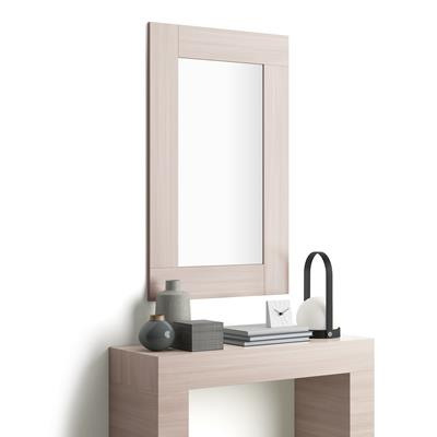 Rectangular wall-mounted mirror, Pearled Elm effect frame, Evolution