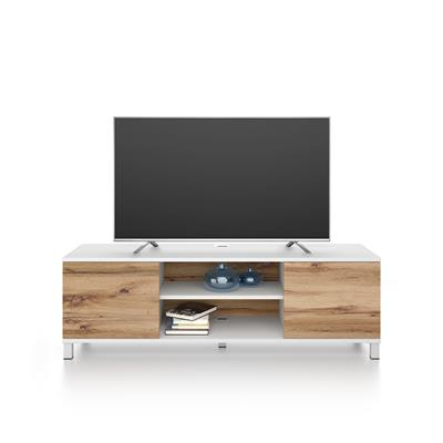Rachele TV Stand, White Ash and Rustic Wood
