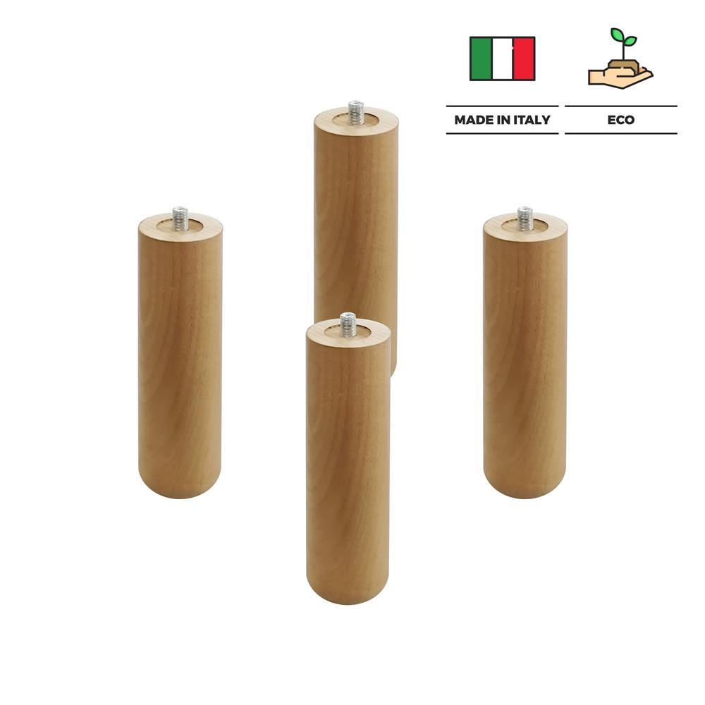 viglietti Set di 4 Pezzi Piedi Faggio con Bulloni per Reti a Doghe in Legno H 34 cm