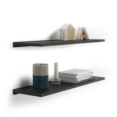 Pair of Evolution Shelves 80x25 cm, Black Ash, with black aluminum support
