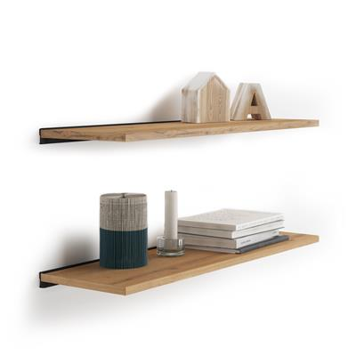 Pair of Evolution Shelves 80x25 cm, Rustic Wood, with black aluminum support