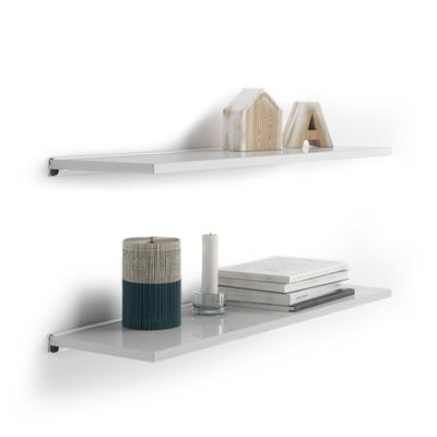 Pair of Evolution Shelves 80x25 cm, Glossy White, with white aluminum support