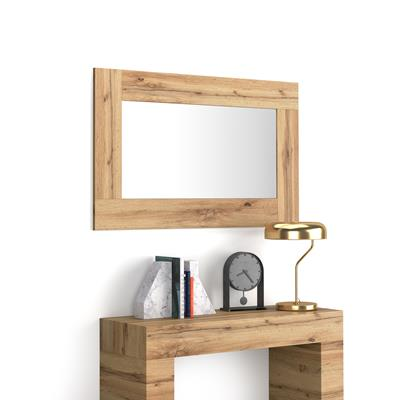 Rectangular wall-mounted mirror, Rustic Wood effect frame, Evolution