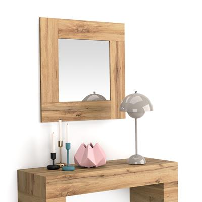Square wall-mounted mirror, Rustic Wood frame, Evolution