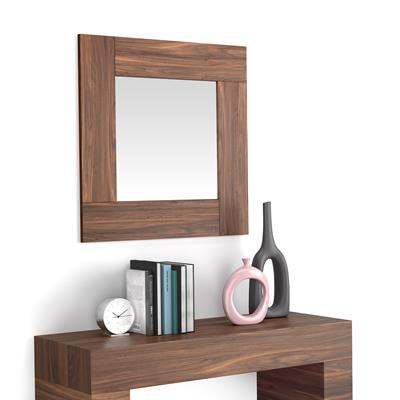 Square wall-mounted mirror, Canaletto Walnut frame, Evolution