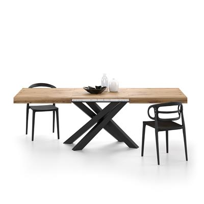 Extendable table with black crossed legs Emma, Rustic Wood