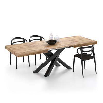 Extendable table with crossed iron legs Emma, Rustic Wood