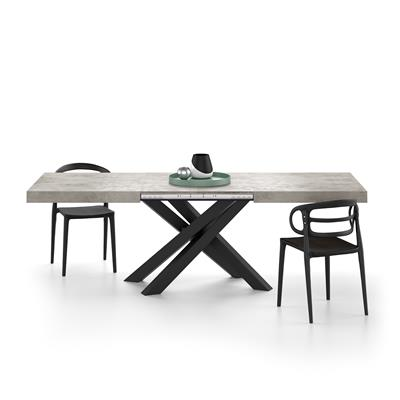 Extendable table with black crossed legs Emma, Grey Concrete