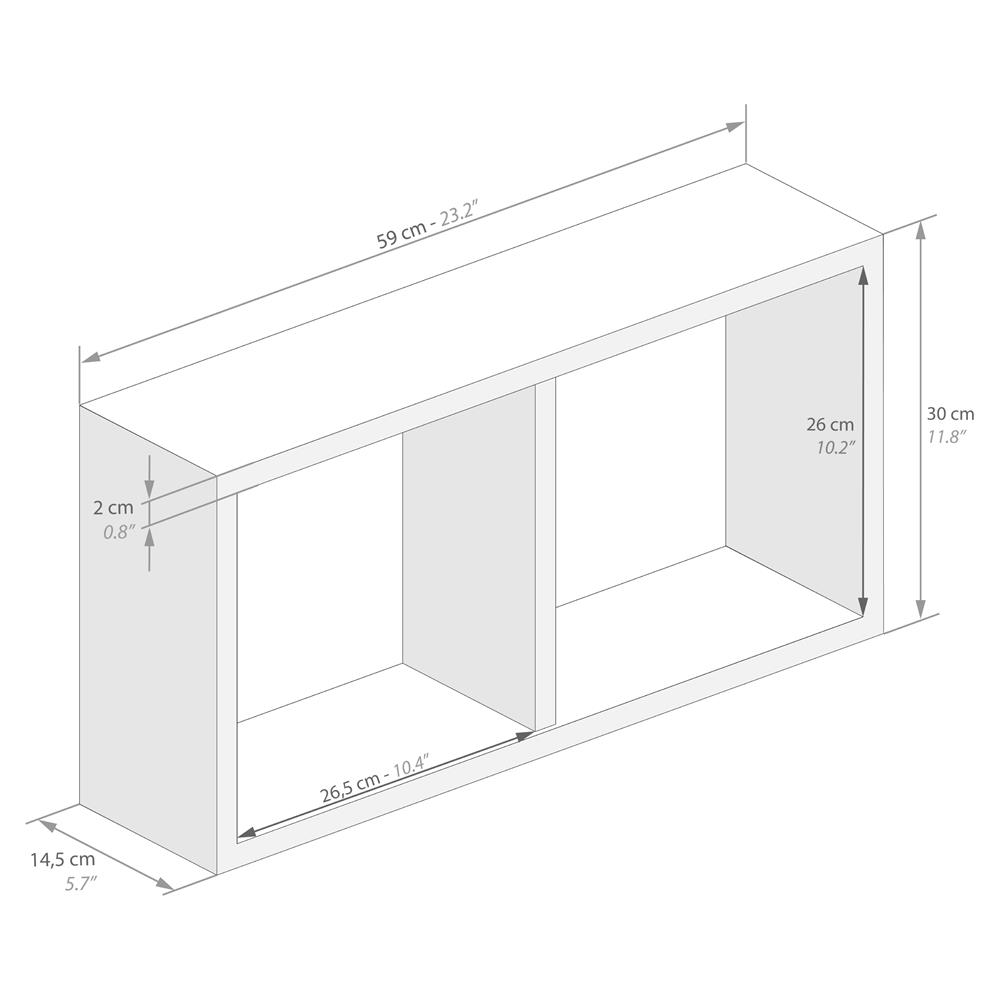 Cube Mural 59x30 Cm First En Melamine Blanc Laque Brillant Mobili Fiver