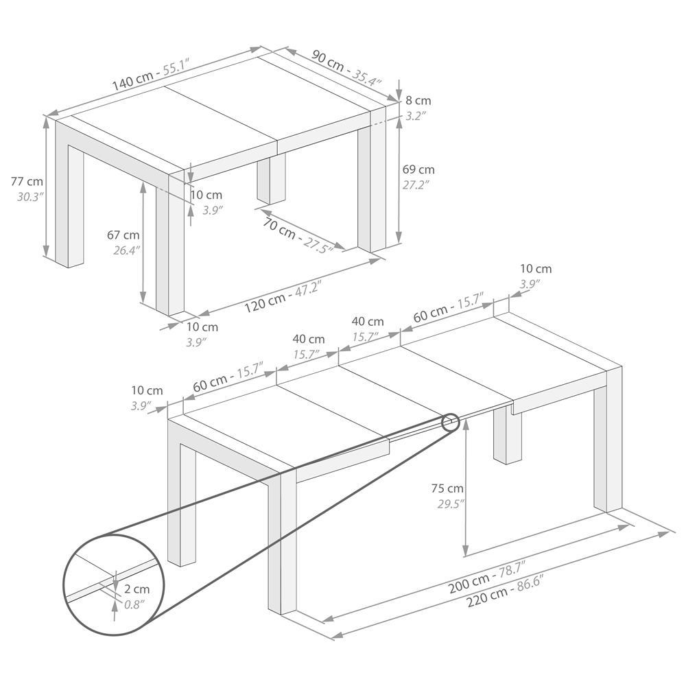 Tavolo Allungabile Moderno Iacopo Grigio Cemento Mobili Fiver
