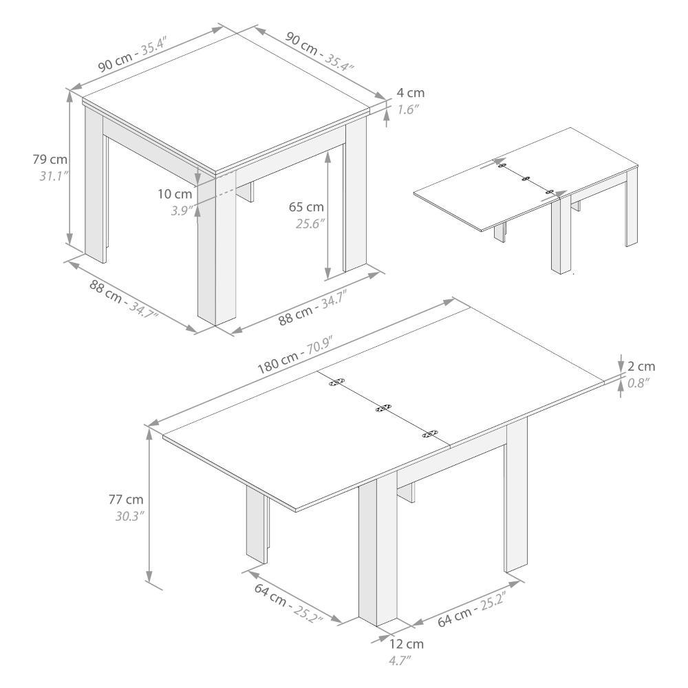 Tavolo Quadrato Allungabile A Libro Eldorado Grigio Cemento Mobili Fiver