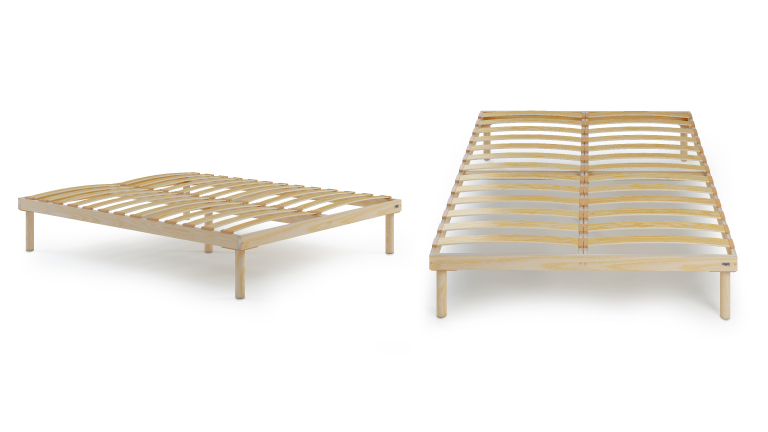 Wooden slatted double bed frame