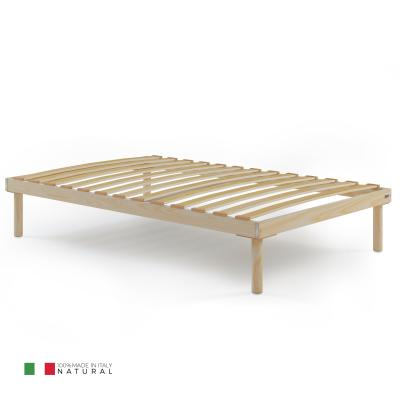 120x190 Wooden slatted French bed frame, Total height 31 cm