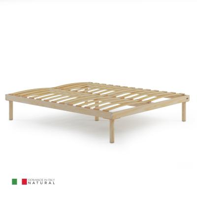 140x190 Wooden slatted Double French bed frame, Total height 26 cm