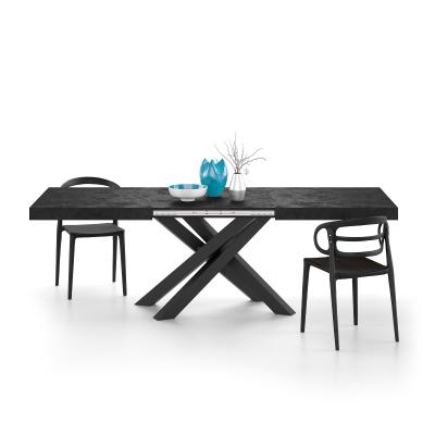 Extendable table with black crossed legs Emma, Black Concrete