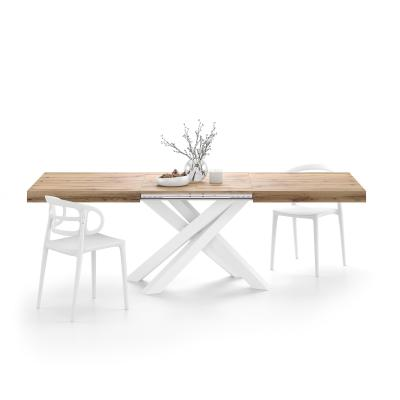 Extendable table with white crossed legs Emma, Rustic Wood