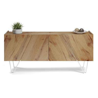 Emma 4-doors Sideboard, in Rustic Wood, with white legs