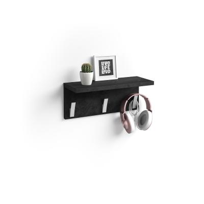 Perchero de pared Rachele, 40cm, cemento negro