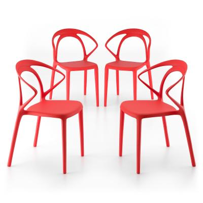 Lot de 4 Chaises de design Olivia, Rouge