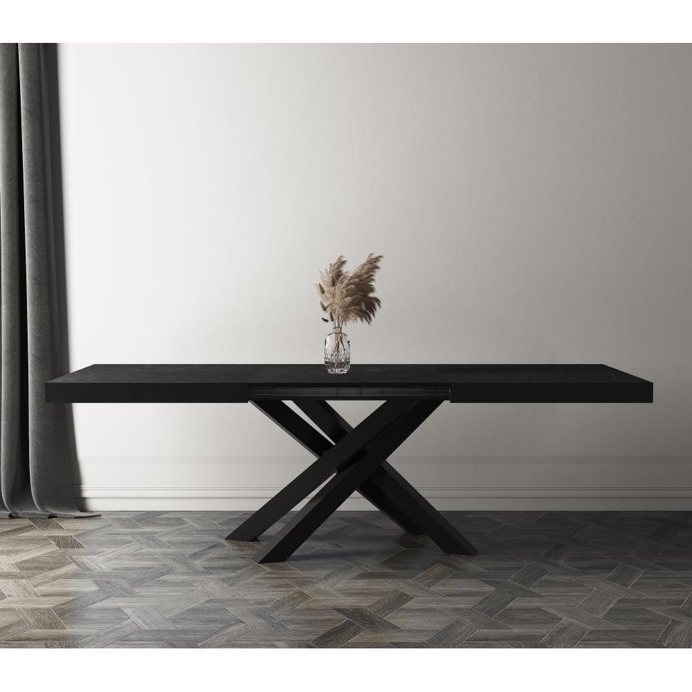 Table extensible Emma 12, Noir Béton avec pieds noirs croisés