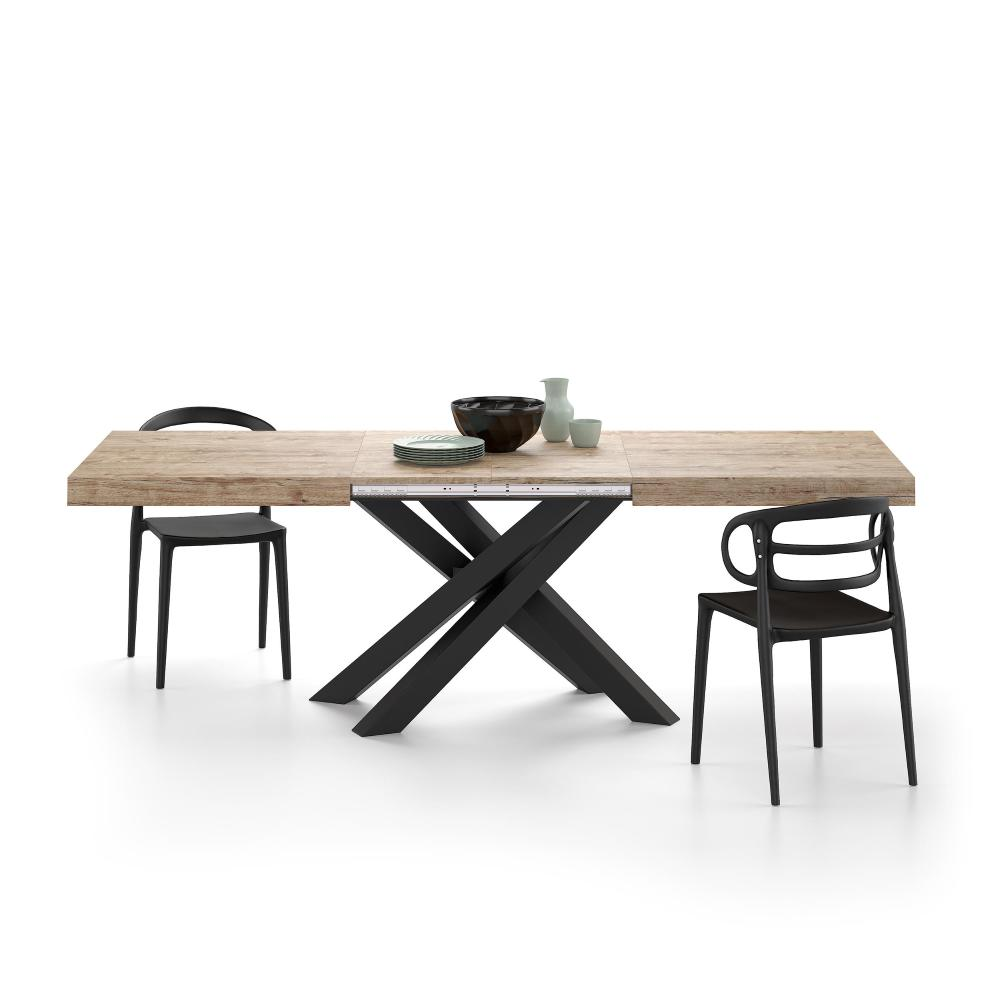 Table extensible Emma 12, Chêne naturel, avec pieds noirs croisés