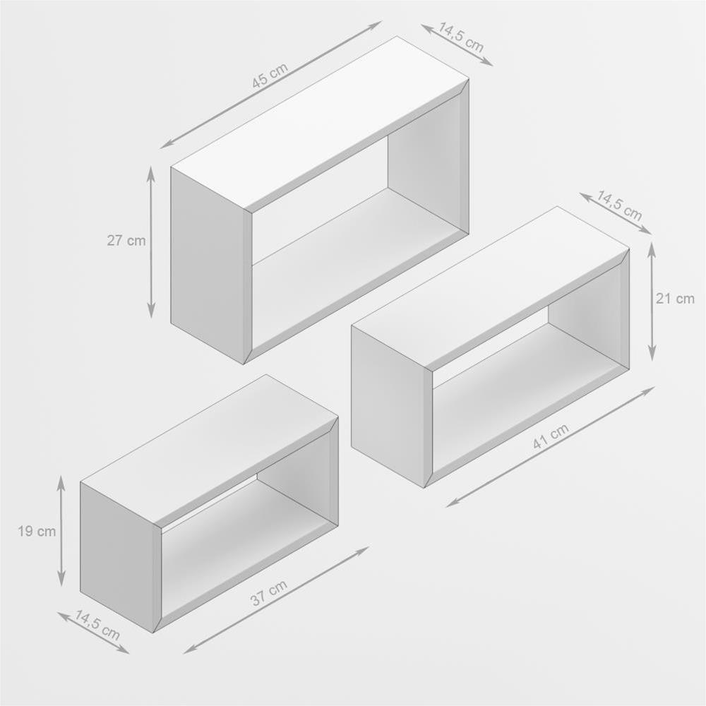Set de 3 Cubes muraux, Giuditta, en mélaminé, Béton