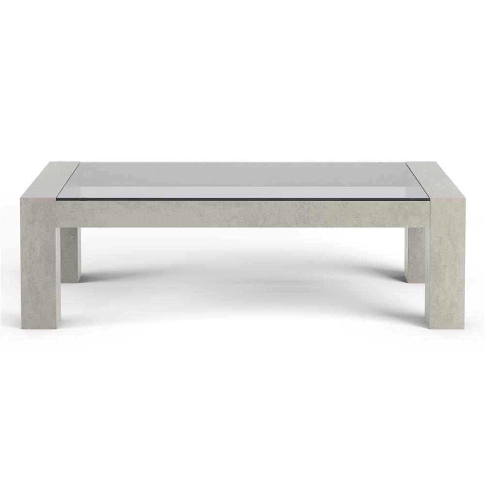 Coffee table, Tempered glass top, Iacopo, Grey Concrete