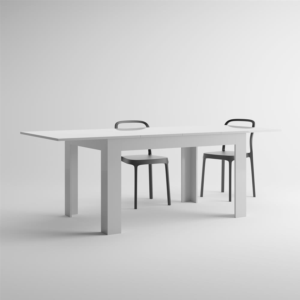 Tavolo allungabile cucina easy bianco lucido mobili fiver - Tavolo bianco lucido ...