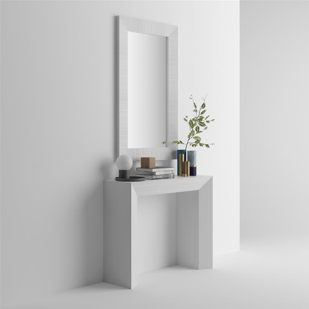 Rectangular wall-mounted mirror, White Ash frame, Giuditta 110x65