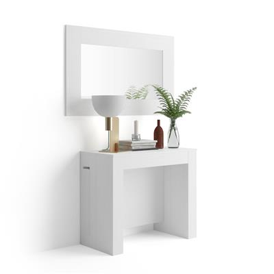 Extendable Console Table with extension holder, Easy, White Ash