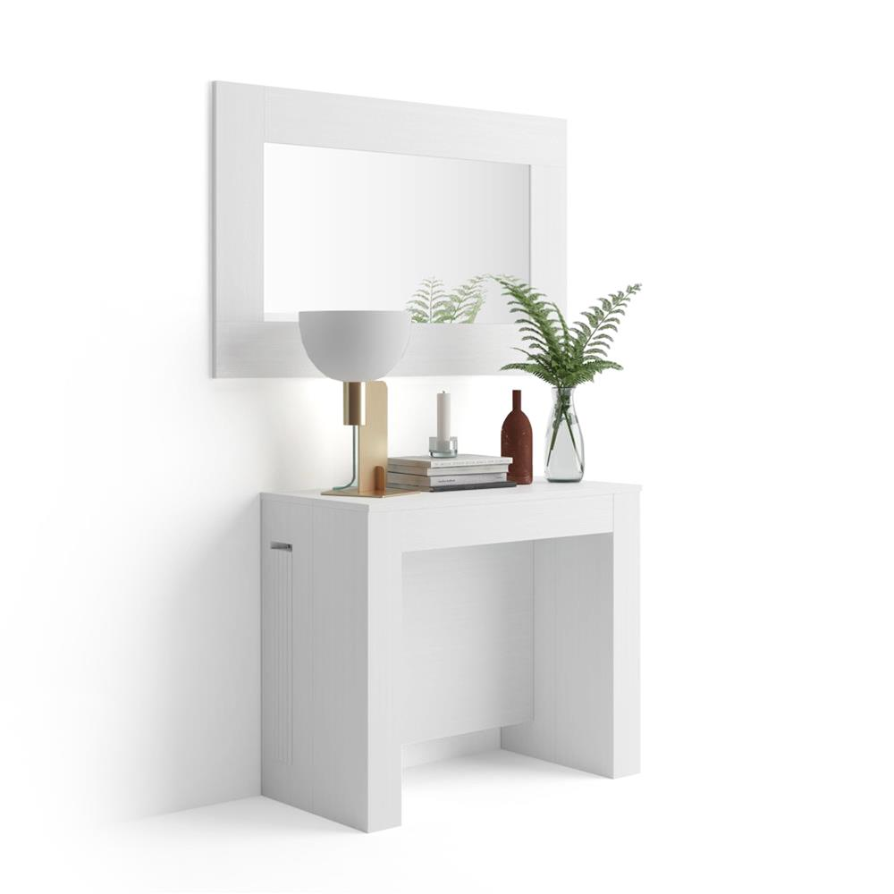 Mesa consola extensible con porta-extensiones, Easy, color Fresno Blanco