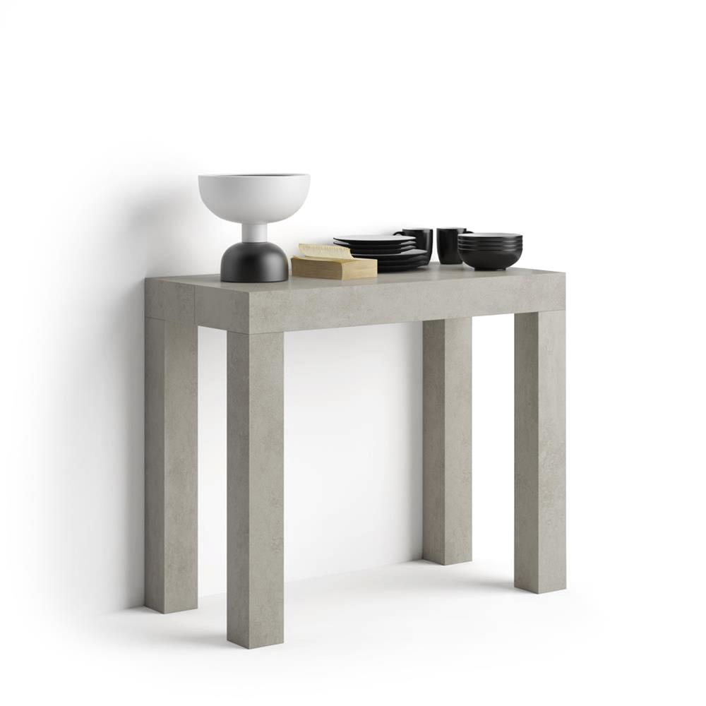 Extendable console table First, Grey Concrete