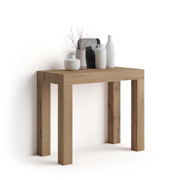 First Extendable Console Table Rustic Wood Mobili Fiver