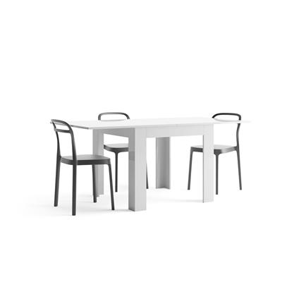White gloss square extending dining table, Eldorado