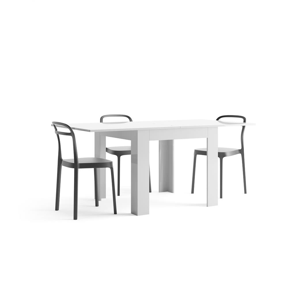 Table extensible, Eldorado, Blanc laqué brillant