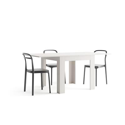 Square extendable dining table, Eldorado, White Ash
