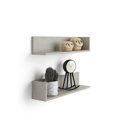 A Pair of Luxury Shelves, in Laminate-faced Grey Concrete