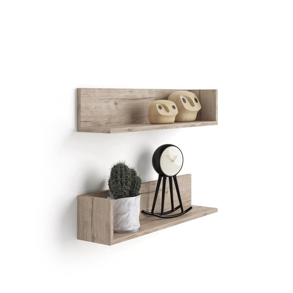 A Pair of Luxury Shelves, in Laminate-faced Natural Oak