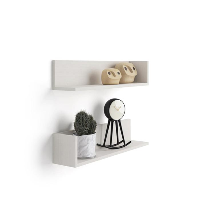 paire d 39 tag res luxury en m lamin fr ne blanc mobili fiver. Black Bedroom Furniture Sets. Home Design Ideas