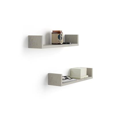 "A Pair of ""U""-Shaped Shelves, Iacopo, in Laminate-faced Grey Concrete"