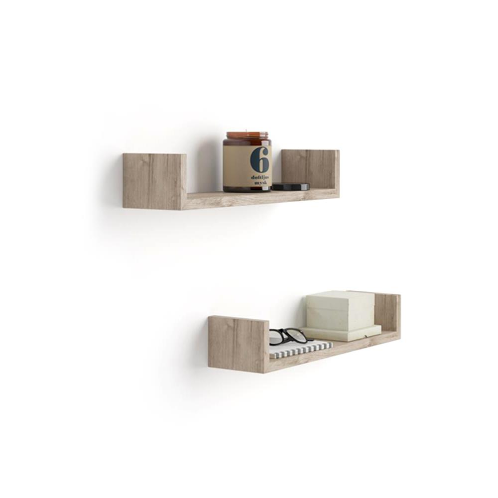 "A Pair of ""U""-Shaped Shelves, Iacopo, in Laminate-faced Natural Oak"