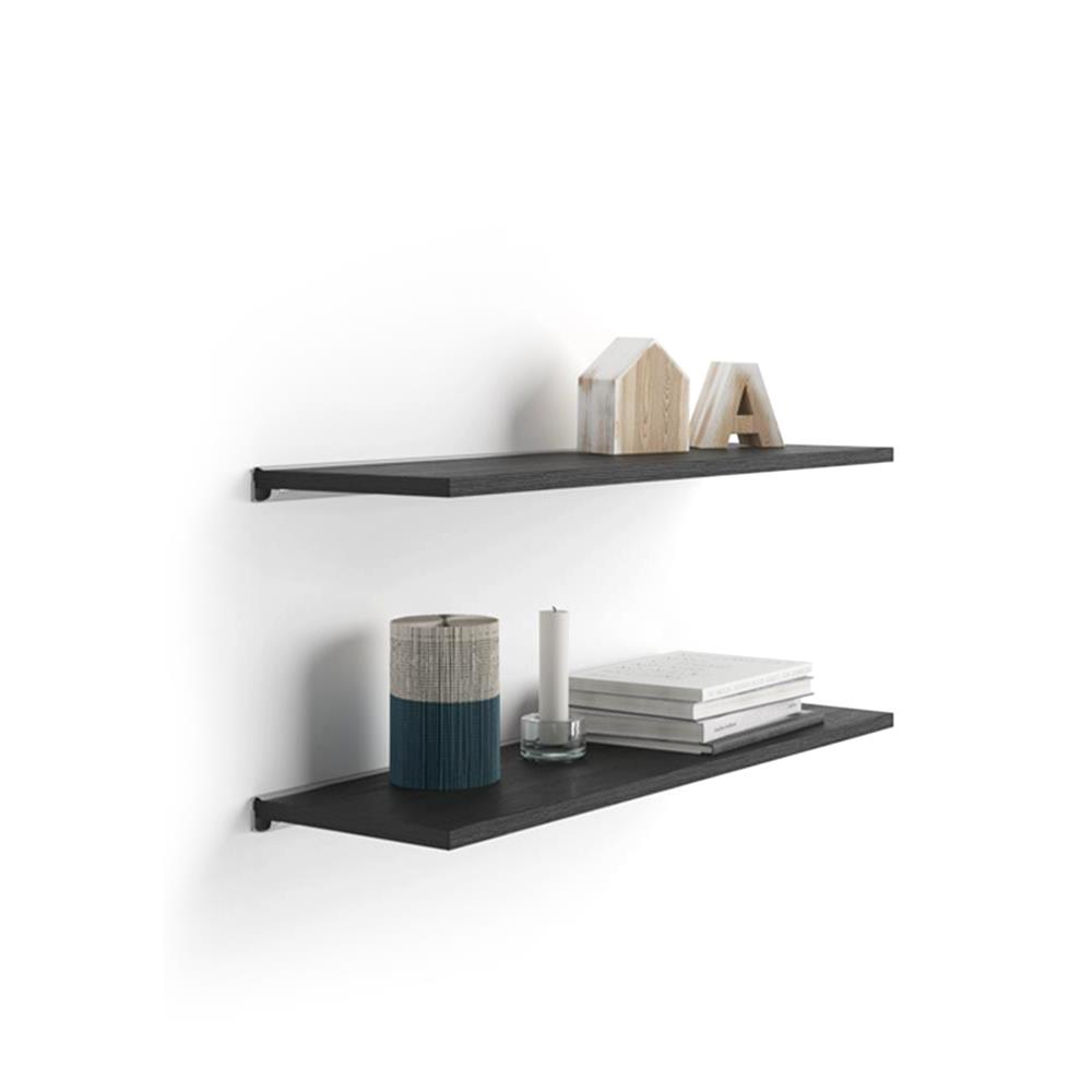 A 60x15 cm Pair of Shelves with an aluminium bracket, Black Ash